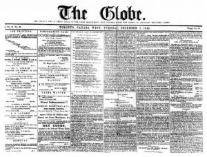 Front page of The Globe, December 2, 1845.  via Wikipedia .