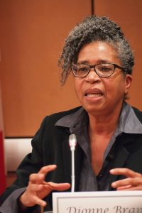 """Dionne Brand at the panel """"The Political Poem,"""" organized by Fred Wah. Pearl Pirie, CC BY-NC-ND 2.0, via Flickr."""