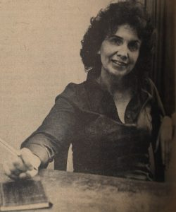Alice Munro as Western University's Writer in Residence in 1974. As a student at Western, Munro published her first stories in Folio, the school's undergraduate English journal, in 1950 and 1951. Comms staff [Western University], CC BY-NC-ND 2.0, via Flickr.