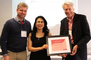 Photo (from left to right): Rowly Lorimer, Editor of Scholarly and Research Communication   Donna Chin, Managing Editor   Emmanuel Hogg, President of the Canadian Association of Learned Journals